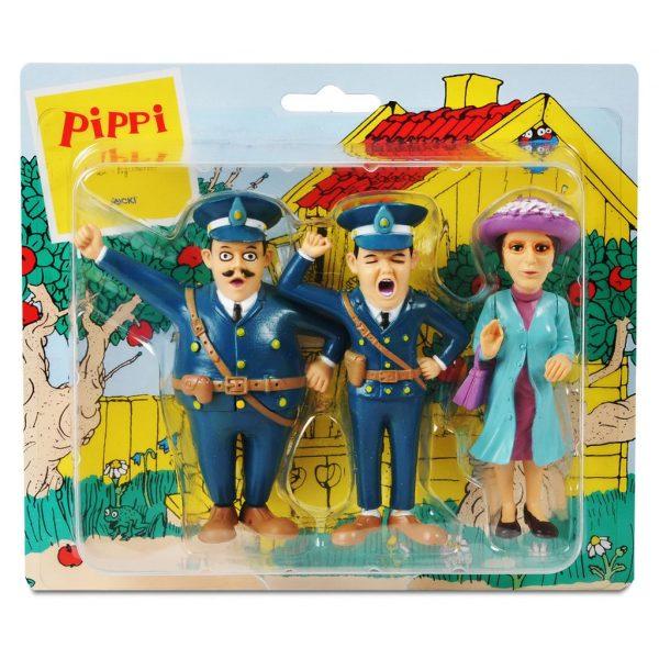 Figurki: policjanci i nauczycielka Pippi