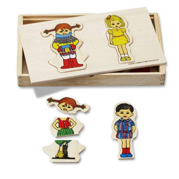 Drewniana układanka przebieranka - Pippi, Tomi i Annika