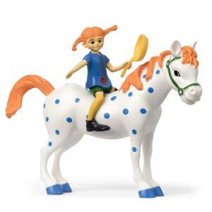 Figurki: Pippi z patelnią i koń
